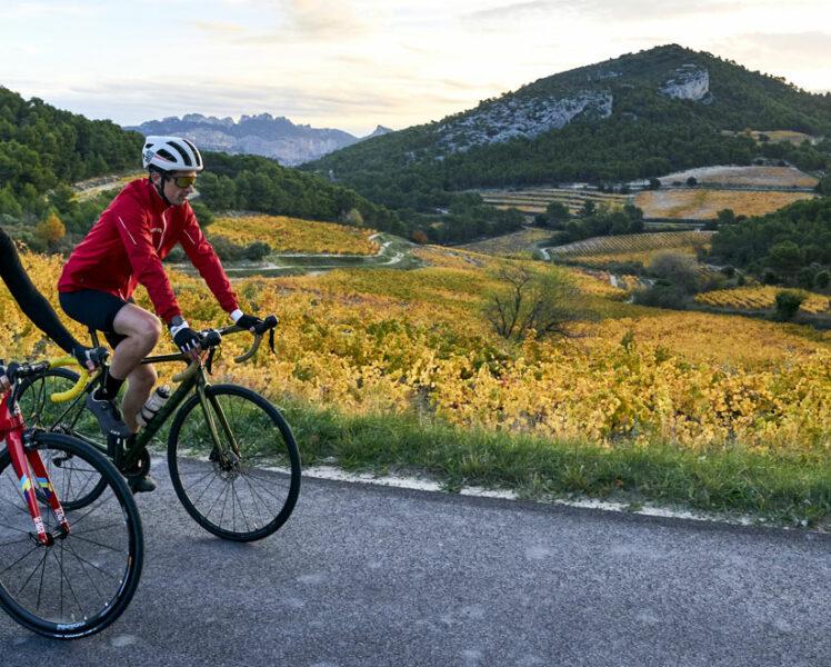 Vélo au bord des vignobles © Rosso